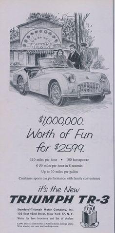 1956 Triumph TR-3 Convertible Classic Car Ad by AdVintageCom