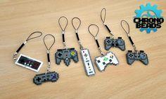 Videogame controller - nes - snes - nintendo 64 - wii - xbox 360 - playstation - dualshock - keychain - cell phone strap