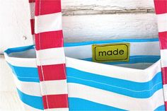 Sewing with Oilcloth–striped tote bag