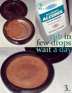 Got some broken cosmetics ranging from compact blush, powder to eye shadow?   This photo explains exactly how you can recover it. In essence, what you'll need is a few drops of rubbing alcohol, a bit of rubbing, and a day of patience. How easy and inexpensive is that?!!