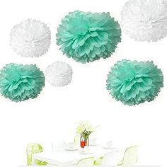 Since ® 12PCS Mixed Size White Mint Green Party Tissue Pom Poms Wedding Birthday Party Girls Room Decoration ** Be sure to check out this awesome product.