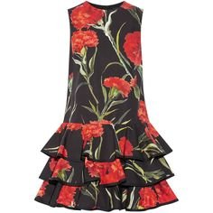 Dolce & Gabbana Floral-print cotton mini dress ($2,375) ❤ liked on Polyvore featuring dresses, d&g, dolce & gabbana, cotton dress, black floral print dress, short dresses, black floral dress and tiered dress