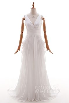 Lovely V-Neck Court Train Chiffon Ivory Sleeveless Open Back Wedding Dress with Draped HS4382