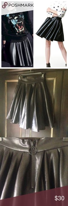 "Eleven Paris Faux Leather Skater Skirt EUC! Gorgeous quality, it's just too small for me so I'm reposhing, 25"" waist, 19.5"" long, fits like an xxs or 0, faux leather skater skirt, Zara for similar style (this is a higher end brand) Zara Skirts"