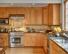 Spaces Wood Cabinets And Stone Backsplash Design, Pictures, Remodel, Decor and Ideas - page 12