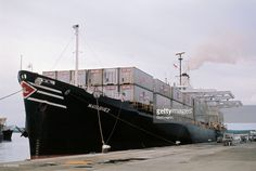 View of the American merchant ship Mayaguez, which was seized by the Cambodian government in April 1975.