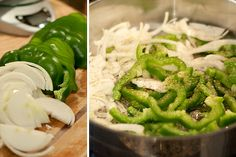 Prep onions and peppers