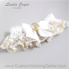 "White and Gold Wedding Garters Bridal Garter Lace Garter ""Penny"" 112 White Garter Gold Metallic Lace Prom Garter Plus Size & Queen Size by CustomWeddingGarter on Etsy"