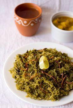 palak biryani or spinach biryani | lightly spiced easier biryani recipe
