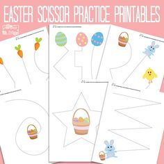 Let& learn to cut with these sweet Easter Cutting Practice Worksheet. Great scissor or pre-writing skill practice! Preschool Cutting Practice, Pre Writing Practice, Scissor Practice, Cutting Activities, Easter Activities, Spring Activities, Preschool Activities, Scissor Skills, Dementia Activities