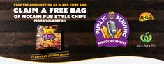 Free - Mccain Pub Style Extra Crispy Chips 750g @ Woolworths via Mccain (2000/Day)