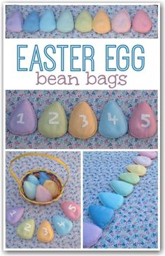 Easter egg bean bags made from felt - great fun for Easter games and good for number recognition Easter Activities For Kids, Games For Toddlers, Fun Crafts For Kids, Preschool Ideas, Spring Activities, Toddler Activities, Motor Activities, Indoor Activities, Kids Fun