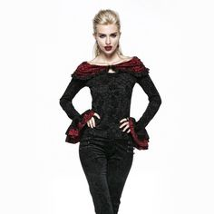 PUNK RAVE Gothic black and red petal sleeve ruffled collar rose flocking T-shirt with cape design T-369