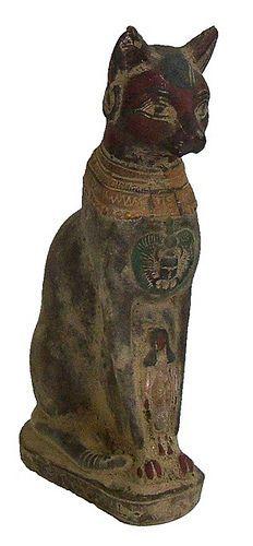 Ancient Egyptian Terracotta Statue of a Cat Cats In Ancient Egypt, Ancient Egyptian Artifacts, Egyptian Symbols, Ancient Symbols, Ancient History, Ancient Rome, Egyptian Cats, Ancient Civilizations, Cat Art