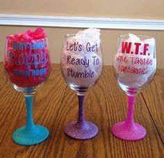 Wine Glasses How much do you think this costs? Wine Glasses Glitter Wine Glasses How to Make a DIY Holder for a Wine Bottle and Glasses Wine Glasses, Hand Sayings For Wine Glasses, Wine Glass Sayings, Wine Glass Crafts, Wine Craft, Wine Bottle Crafts, Glasses Quotes, Wine Bottles, Glitter Wine Glasses, Diy Wine Glasses
