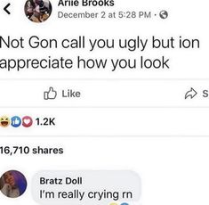 Funny Relatable Quotes, Bratz Doll, Appreciate You, So True, Being Ugly, Crying, Daddy, Felt, Feltro