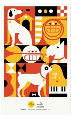 Pets Rock Posters | Zeus Jones • #poster #dogs  music dog
