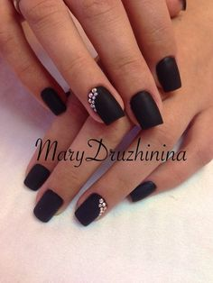 A black manicure for stylish and daring young ladies who like being extraordinary and eccentric, This luxurious shade emphasizes the personality and the sp