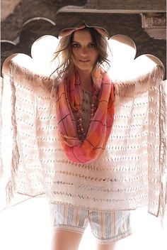 Pretty poncho that wouldn't be hard to sew from a rectangle of gauzy fabric. Anthropologie spring collection