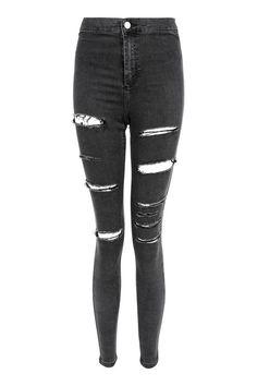 Vasket svart Super Ripped Joni Skinny Jeans - Lilly is Love Cute Ripped Jeans, Ripped Jeans Outfit, Ripped Jeggings, High Waisted Distressed Jeans, Camo Denim Jacket, Cropped Denim Jacket, Denim Overalls, Denim Jackets, Denim Pants