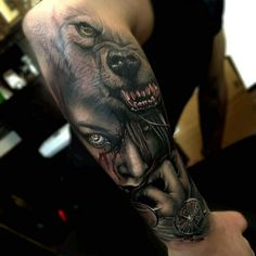 Wolf tattoos are still one of the most popular tattoo ideas for men. Wolf tattoos have many meanings. Some men choose wolf tattoos because they symbolize strength, freedom and the instinct of primitive animals Wolf Tattoo Design, Tattoo Designs, Tattoo Ideas, Wolf Tattoo Sleeve, Best Sleeve Tattoos, Tattoo Wolf, Zeus Tattoo, Forearm Sleeve, Lion Tattoo