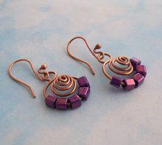 Metallic Purple Spiral Copper Earrings