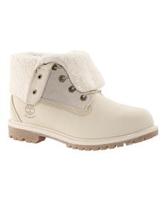 Look at this #zulilyfind! Winter White Authentics Teddy Fleece Leather Boot - Women by Timberland #zulilyfinds