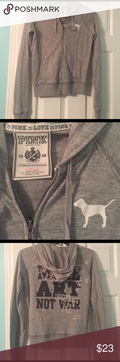 """VS PINK zip up jacket! This cute, VS Pink, zip up jacket has barely been worn. Has words """"Make Art Not War"""" on the back with cute printed looking doodles, with the VS Pink Dog on the front left side of the jacket. PINK Victoria's Secret Jackets & Coats"""
