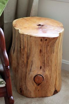 tree stump side table... or stools for extra seating.  A trip to the cottage in order?