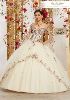 STYLE: 34003 Perfect for a Grand Entrance, This Stunning Quinceañera Ballgown Features an Off The Shoulder Neckline and Delicate Sheer Bell Sleeves. A Full Tulle Skirt Edged in Embroidery Completes the Look. Mori Lee Dresses, 15 Dresses, Pretty Dresses, Beautiful Dresses, Mexican Quinceanera Dresses, Mexican Dresses, Princess Wedding Dresses, Dream Wedding Dresses, Tulle Ball Gown
