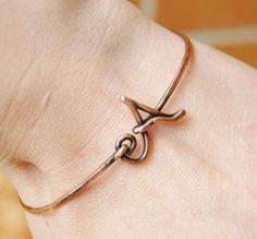Initial Bracelet. Bangle. Oxidized Copper. by Karismabykarajewelry