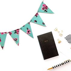 New teal and black floral banner in the shop!