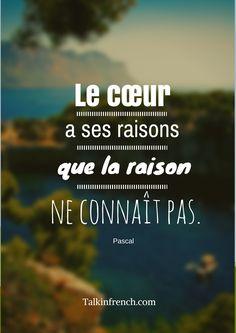 """Le cœur a ses raisons que la raison ne connaît pas - Pascal """"The heart has its reasons which reason knows nothing of"""""""
