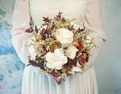 BIG cream ivory burgundy gold brown rustic autumn fall winter woodland wedding BOUQUET sola flowers limonium pine cone cedar rose Burlap - pinned by pin4etsy.com