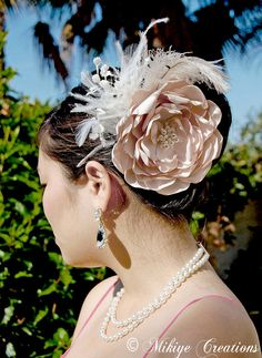 Bridal Hair Feather Flower Head Piece