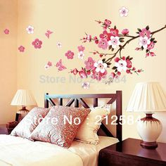 Pink Cherry Butterfly Around Wall / Sakura Flower Tree Removable Vinyl Wall Decal Sticker Art Home Decor 100x40cm inches