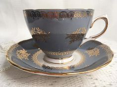 Colclough Tea Cup and Saucer Steel Blue with Gold Gilding and