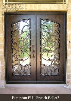 European wrought iron door designs, really like that it is a square door but still has a curved top for aesthetics