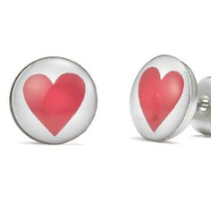 R&B Schmuck Unisex Ohrstecker Ohrringe - Liebende Rotes Herz (Rot, Weiss): 9,90€