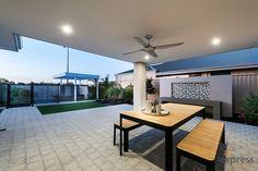 The gorgeous alfresco designed for entertaining. Alfresco Designs, Ventura Homes, Storey Homes, Display Homes, Western Australia, Dining Table, House Design, Patio, Entertaining