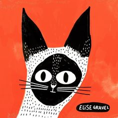 by elise_gravel Crazy Cat Lady, Crazy Cats, Cat Mask, Color Shapes, Siamese Cats, Fabric Painting, Mixed Media Art, Illustration Art, Illustrations