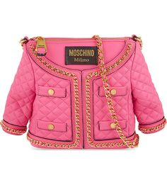 MOSCHINO small Quilted JACKET LEATHER shopper SHOULDER BAG pink tote handbag #Moschino #TotesShoppers