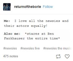 """relatable<<<Or Ben Cook<<< That was me when I saw Beautiful Part of time I was like """"Oh my gosh I love this cast so much they're so perfect!"""" and then other times I was just staring at Ben Fankhauser and laughing at every line of his"""
