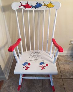 Bedroom reading chair, rocking chair nursery, rocking chair makeover, n Painting Kids Furniture, Funky Furniture, Repurposed Furniture, Furniture Makeover, Painted Furniture, Ikea Furniture, Chair Painting, Furniture Removal, Refurbished Furniture