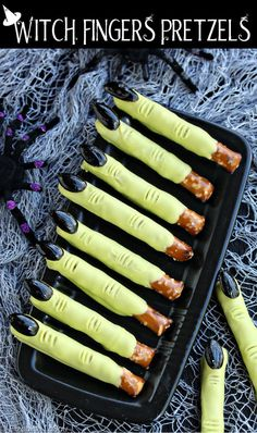 Witch Finger Pretzel Rods - 4 ingredients, 10 minutes, 1 seriously spooky candy…