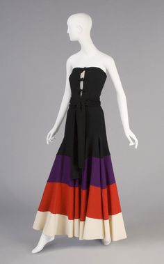 1973, Japan - Woman's Ensemble: Strapless Top and Palazzo Pants by Kansai Yamamoto - Wool plain weave