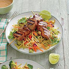 Beef Kabobs with Broccoli Slaw and Peanut Sauce | MyRecipes.com