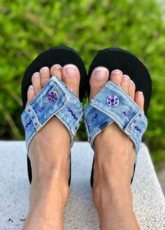 Crystal River Flip Flops are unique, each pair of denim sandals are carefully designed, embellished with Authentic Swarovski Crystals, embroidery, & their own hand selected pair of repurposed denim blue jeans. Inspired by the pure flowing water of the Crystal River in Glen Arbor Michigan, these flip