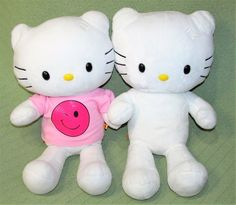 "Hello Kitty Build A Bear 18"" White Plush Stuffed with Pink Smiley Face T Shirt  #BuildABear #any"