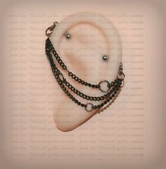 Industrial Barbell 14g, 16g,  Industrial piercing,  Jewelry, Industrial bar earring, Industrial piercing chain, Dangle Black chains (m21)